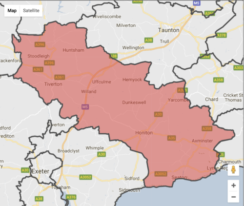 Tiverton & Honiton Constituency map